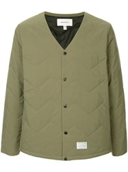 Makavelic Quilted V Neck Jacket Green