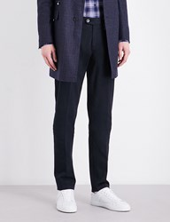 Corneliani Slim Fit Tapered Stretch Cotton Chinos Navy