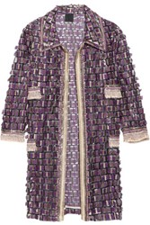 Anna Sui Sequin Embellished Fringed Tulle Coat Plum