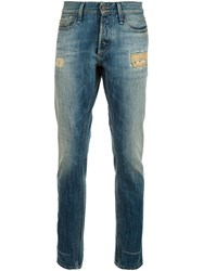 Denham Jeans Distressed Slim Fit Blue
