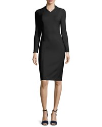 Adam By Adam Lippes Adam Lippes Fitted Long Sleeve Stretch Wool Dress Black