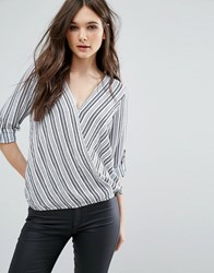 Qed London Striped Wrap Front Blouse Cream Navy
