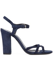Jil Sander Block Heel Sandals Women Leather Suede 37 Blue