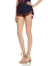 Band Of Gypsies Embroidered Tassel Shorts Navy