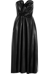 Lanvin Gathered Faux Leather Maxi Dress Black