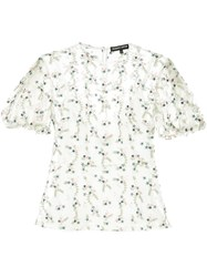 Markus Lupfer Floral Embroidered Sheer Top White