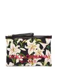 Dolce And Gabbana Lily Print Pouch Clutch Black Multi