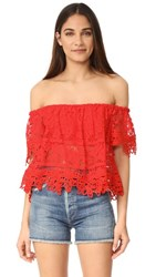 Free People Sweet Dreams Lace Crop Top Bright Red