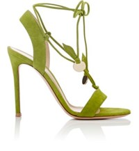 Gianvito Rossi Women's Cherry Suede Ankle Tie Sandals Green