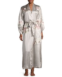 Josie Natori Lola Embroidered Silk Long Robe Beige