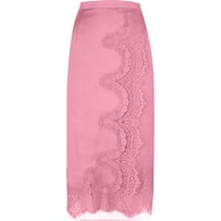 River Island Womens Pink Scalloped Eyelash Lace Midi Wrap Skirt