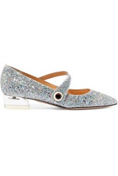 Charlotte Olympia Uma Glittered Canvas Point Toe Flats Silver