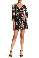 A. Byer Print Bell Sleeve Baby Doll Illusion Dress Multi