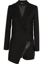 Anthony Vaccarello Leather Trimmed Wool Blend Playsuit Black