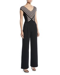 Herve Leger V Neck Cap Sleeve Striped Bandage Wide Leg Jumpsuit Black Pattern