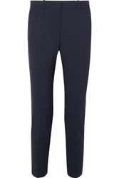 Theory Testra Wool Blend Crepe Slim Leg Pants Navy
