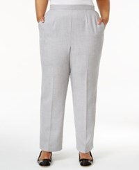 Alfred Dunner Plus Size Rose Hill Collection Pull On Trousers Silver Heather