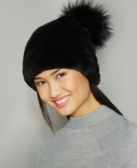 The Fur Vault Fox Pom Rabbit Beanie Black Black