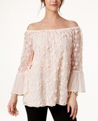 Alfani Floral Applique Bell Sleeve Top Created For Macy's Silver Peony