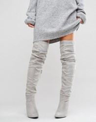 New Look Over The Knee Boots Grey