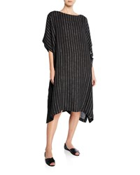 Eskandar Striped Linen Kaftan Dress Black