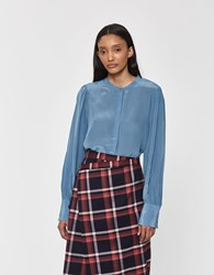Just Female Silky Shirt In Provincial Blue