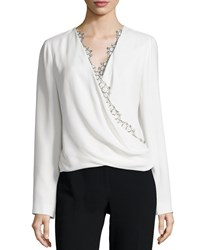 J. Mendel Long Sleeve Lace Trim Blouse Ivoire Women's