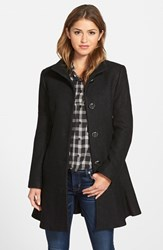 Women's Kensie Single Breasted Ruffle Hem Coat