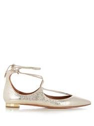 Aquazzura Christy Leather Flats Gold