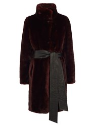 Coast Moscow Faux Fur Coat Merlot