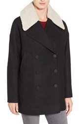 Andrew Marc New York Women's Cocoon Coat With Faux Shearling Collar