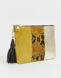 River Island Grab Clutch Bag In Yellow Snake Print