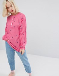 Lazy Oaf Oversized Long Sleeve Button Down T Shirt In Waffle With Tiny Flowers Pink