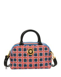 Versace Icon Quilted Clash Satchel Bag Blue Pattern