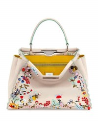 Fendi Peekaboo Large Floral Embroidered Satchel Bag Tan