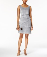 Connected Petite Tiered Dress Grey
