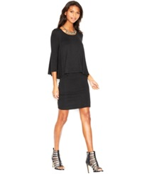 Bar Iii Three Quarter Sleeve Layered Dress Anthracite