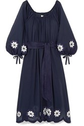Innika Choo Frida Wailes Off The Shoulder Belted Embroidered Cotton Voile Dress Navy