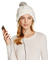 Rebecca Minkoff Cable Knit Beanie With Fur Pom Pom Cream