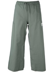 Adidas Wide Leg Cropped Trousers Green