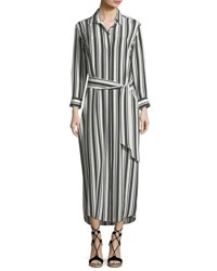 Marie France Van Damme Button Front Long Sleeve Striped Silk Coverup Maxi Dress Multi