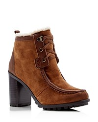 Sam Edelman Madge Faux Fur Lace Up High Heel Booties Mocha Latte