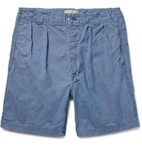 Chimala Pinchecked Cotton Shorts Blue