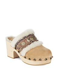 Ash Jade Leather Mules With Fur Camel