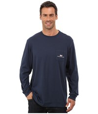 Long Sleeve Vineyard Vines Logo Graphic Pocket T Shirt Vineyard Navy Men's T Shirt
