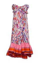 Emilio Pucci Off The Shoulder A Line Dress White Pink Orange