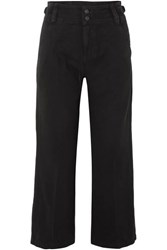 Current Elliott The Relaxed Army Cotton And Linen Blend Wide Leg Pants Black