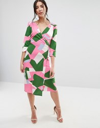 Traffic People Geo Print 3 4 Sleeve Wrap Dress Pink Green Yellow