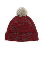 Saks Fifth Avenue Geo Print Beanie Burgundy Charcoal
