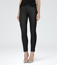 Reiss Stevie Panelled Womens Panelled Skinny Jeans In Black